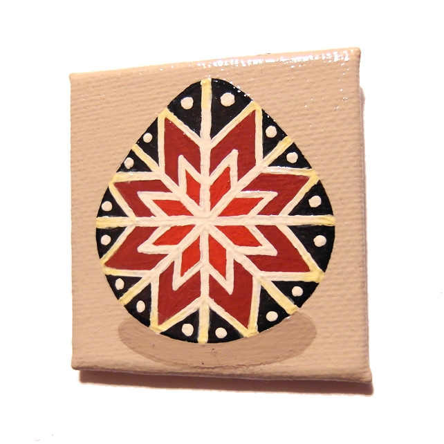 Original Black and Red Pysanky Magnet