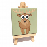 Cartoon Stag Miniature Canvas and Easel
