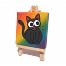 Cute Black Cat Painting on Rainbow Mini Canvas