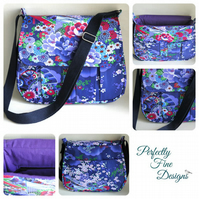 Japanese inspired handmade cross body handbag