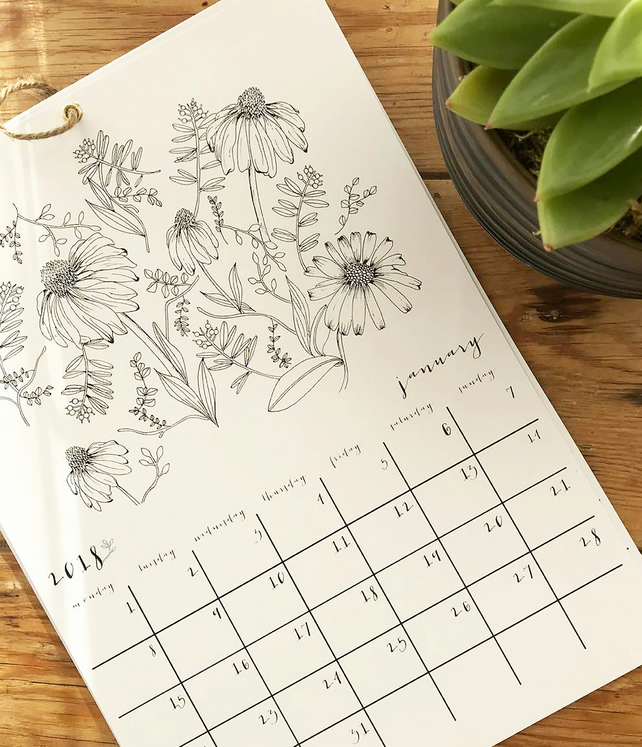 2018 Botanical Colouring Calendar