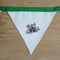 Hand-Stamped Christmas Bunting With Holly Design