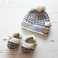 Hat and Booties Set, Knitted Hat, Knitted Booties, Hand Knit, Handmade, Gift Set