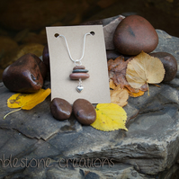 Welsh Waterfall Country River Stone Pendant with small heart charm