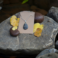 Welsh River Stone Pendant with Celtic Triskele Charm