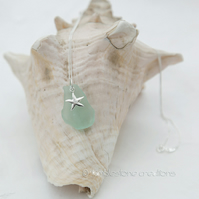 Welsh Sea Glass Pendant with Sterling silver starfish charm
