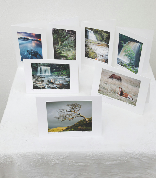 Pack of 7 Brecon Beacons Frameable Handmade Blank Greetings Cards