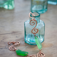 Welsh Green Seaglass and Hammered Copper Bracelet