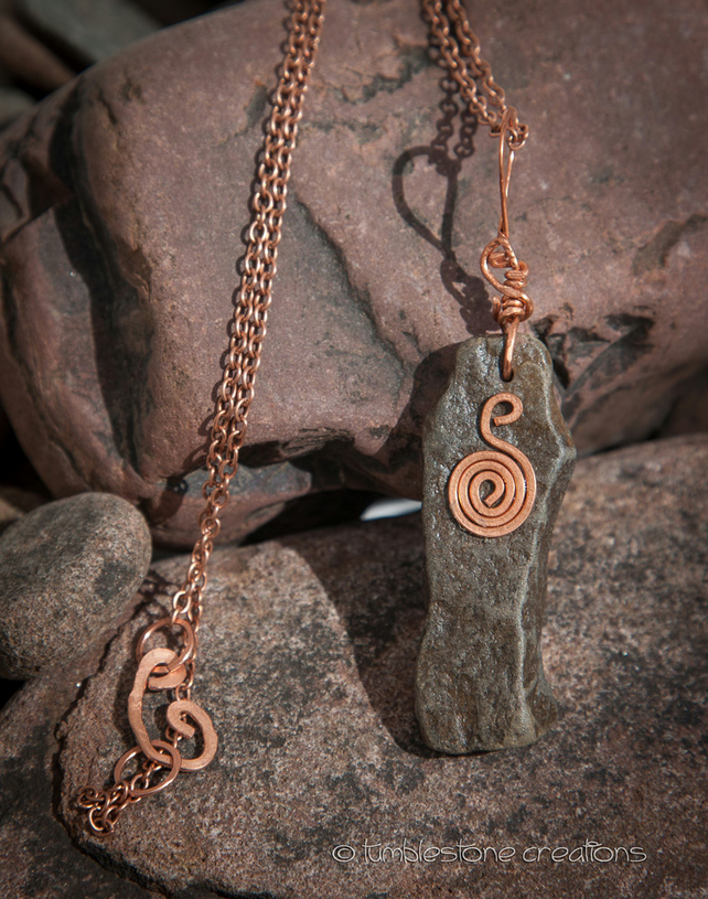 Welsh River Stone and Hammered Copper Pendant on a Copper chain