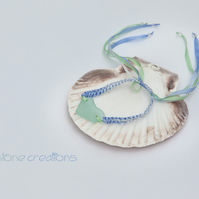 Aqua Sea Glass Heart, blue variegated and green silk macrame bracelet