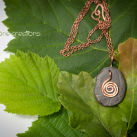 Celtic River Stone and Copper Summer Solstice Spiral Pendant