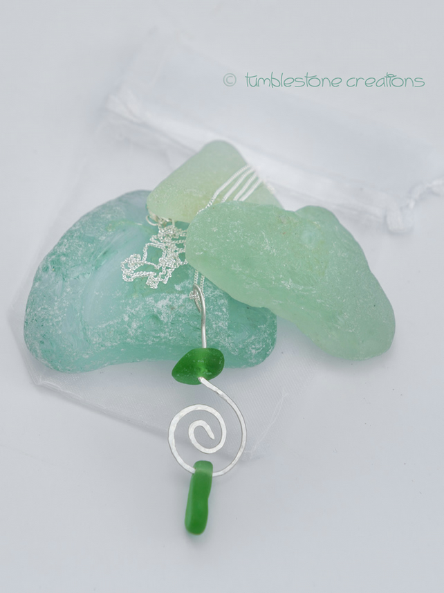 Welsh Sea Glass and Hammered Sterling Silver Necklace