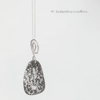 Welsh Beach Stone Real Silver Speckled Pendant