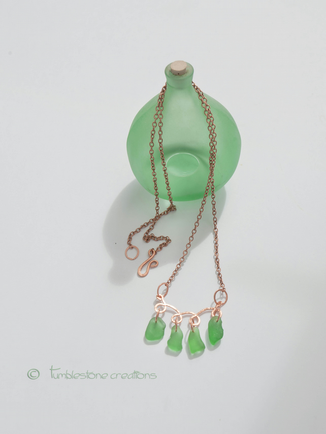 Hammered Copper and Emerald Sea glass Necklace