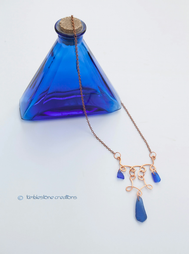 Hammered Copper and Welsh Blue Seaglass necklace