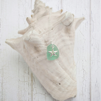 Aqua Sea Glass and Sterling silver Starfish necklace