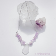 Amethyst and White Sea Glass Necklace