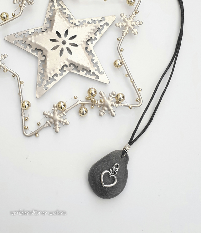 Beach Stone pendant with Silver Heart