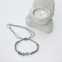 Hematite Bead and Grey Hemp Macrame Bracelet
