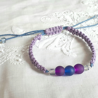 Purple and Blue Hemp and Glass Bead Macrame Bracelet