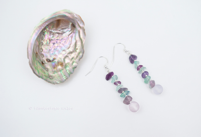 Rainbow Fluorite and Sterling Silver Hook Earrings