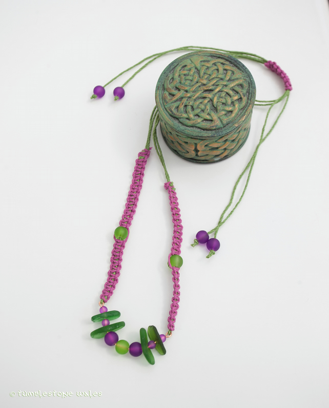 Welsh Sea Glass Macrame Necklace