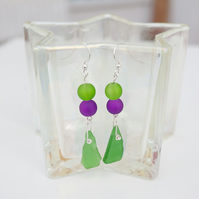 Welsh Sea Glass Sterling Silver Earrings