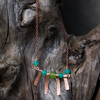 Hammered Copper and Green Glass Bead Necklace