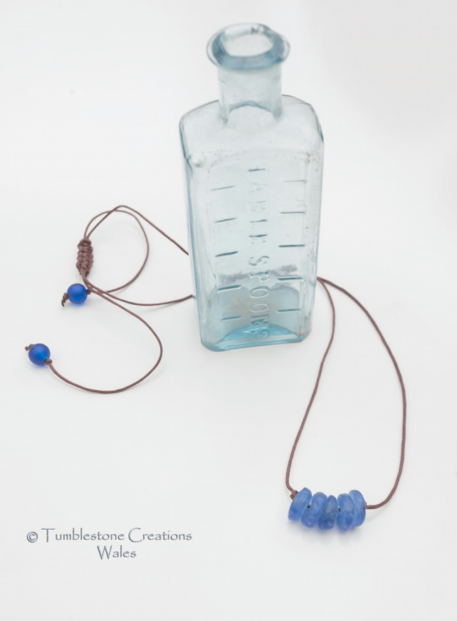 Recycled Blue Glass Beaded Cord Necklace