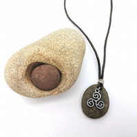 Celtic Welsh River Stone Triskele Pendant