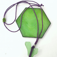 Green Welsh Sea Glass Pendant