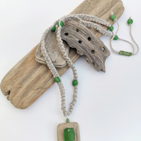 Driftwood and Sea Glass Macrame Necklace