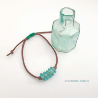 Turquoise Recycled glass bead bracelet