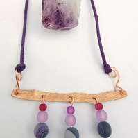 Hammered Copper, Crystal and Glass Purple Waxed Cotton Necklace