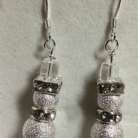 Silver sparkly frosty snowman earrings with sterling silver earwires