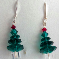 Sparkly Swarovski Christmas tree earrings with sterling silver earwires