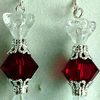 Red Swarovski crystal Christmas cracker earrings with stering silver earwires