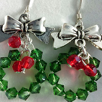 Sparkly Swarovski crystal Christmas wreath earrings - sterling silver earwires