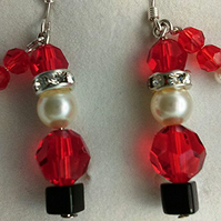 Sparkly Santa Claus Swarovski crystal earrings with sterling silver earwires