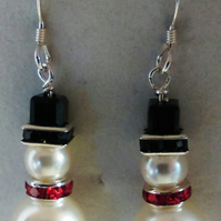 Swarovski crystal & pearl Christmas snowman earrings - sterling silver earwires