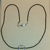 Outstandingly sparkly dainty black spinel and sterling silver necklace