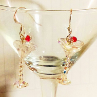 Sparkly Swarovski crystal cocktail glass earrings - sterling silver earwire