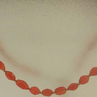 Faceted Carnelian and gold filled two way necklace with peach crystal dangles