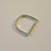 Sterling silver handmade unusual 'D ring'. Minimalist & Contemporary