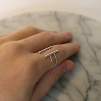 Sterling silver handmade statement double band gap ring. Minimalist & adjustable