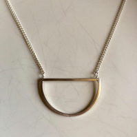 Handmade sterling silver D shaped, semi circle pendant necklace & chain. Minimal