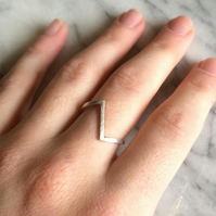 Handmade sterling silver asymmetric ring. Contemporary & minimalist