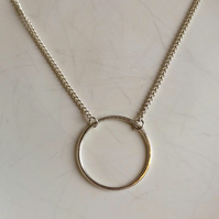 Handmade sterling silver hammered round circle pendant chain necklace. Minimal