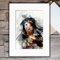 Anime Woman: Unmounted A3 Fine Art Print