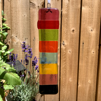 Fused glass multicoloured window hanging